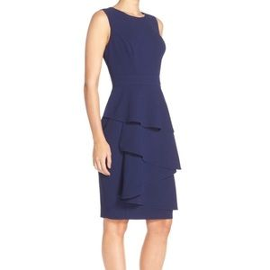 Eliza J Ella Cascades Crepes Sheath Dress